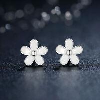 Darling Daisies White Enamel Flower Sterling Silver .925 Stud Earrings for Xmas