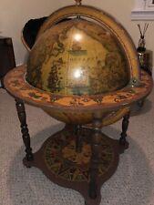 Large Italian Vintage Globe Cocktail Bar Mid-Century World Map Zodiac Signs Art
