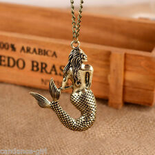 Women Retro Mermaid Pendant Sea-Maid Bronze Necklace Long Sweater Chain Jewelry