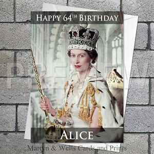 Queen Elizabeth II birthday card. 5x7 inches. Personalised, plus envelope.