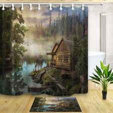 Wooden Cabin Lake Forest landscape Waterproof Fabric Shower Curtain & 12 Hooks