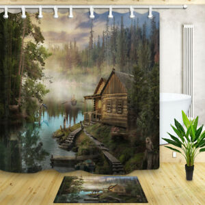 Wooden Cabin Lake Forest landscape Waterproof Fabric Shower Curtain & 12 Hooks