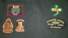 4 military patches VIETNAM, Marines, on polo shirt EUC