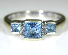 Princess Topaz Trilogy & Diamond 9ct White Gold ring O ~ 7 1/4