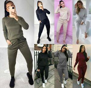 Women's Ladies Long Sleeve Plain and Print Loungewear Comfy Tracksuit Set