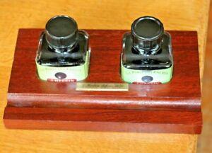 Wooden Desk Top Inkwell Stand 2 x J Herbin Black Full Ink Bottles Mahogany Base