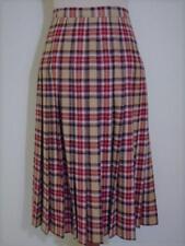 Vintage Pendleton Tan Black Burgundy Tartan Plaid Wool Pleated Skirt 10 Petite