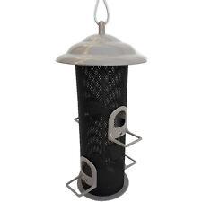 Mangeoire silo, beige, tout métal, pour oiseaux, à suspendre
