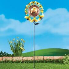 Solar Powered Double-Sided Bumblebee w/ Gazing Ball Wind Spinner Garden Stake