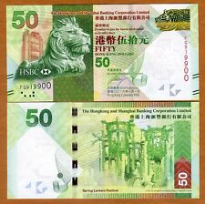 Hong Kong, $50, 2016, HSBC, P-213-New, UNC > Lion