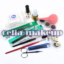 Pro New False Eyelashes Extension Case Tweezers Brush Glue Eye Lash Kit