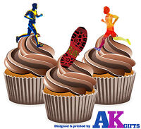 PRECUT Running Runners 12 Edible Cupcake Toppers Party Decorations Boys Girls