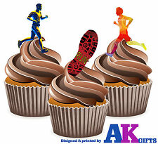 Colourful Running Runners Birthday Party 12 Cup Cake Toppers Edible Decorations