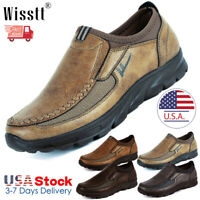 Men's Oxford Leather Casual Shoes Breathable Work Driving Loafers Moccasins Size