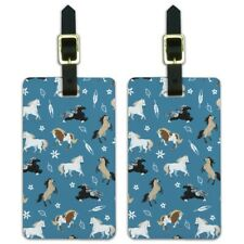 Frolicking Horses Pattern Luggage ID Tags Suitcase Carry-On Cards - Set of 2