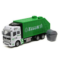 1:48 Garbage Truck Trash Bin Vehicles Diecast Model Car Toy Kids Boys Gift Green