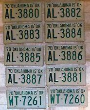 BULK LOT of 10 Oklahoma 1970 License Plates
