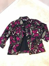 Size 2 Chico's Jacket Black Pink Watercolor Design Fitted Button Jacket large
