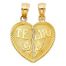 """14K gold """"TE AMO"""" Heart pendant EJPT410"""
