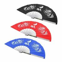 "13.8"" China Stainless Steel Tai Chi Martial Arts Kung Fu Fan Fighting Hand Fan❤G"