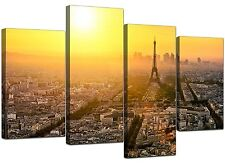 Large Paris Eiffel Tower Yellow Canvas Wall Art Prints Pictures 4153