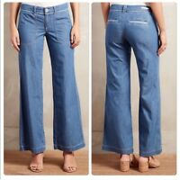 Anthropologie Pilcro Chambray Jeans 10 Wide Flare Leg Cotton Lightweight Boho