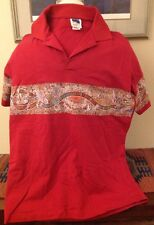 Purely Australian Red Polo Shirt aborigine design across the chest XL