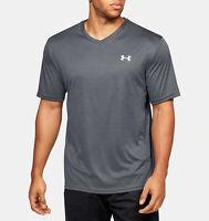 Under Armour Men's UA Velocity V-neck Short Sleeve (Black/White - 002, Large)