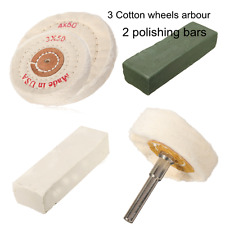 5x Polishing Kit 3 Buffing Mop Wheels Arbor + 2 Polishing Bars For Metal Plastic
