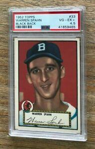 1952 Topps #33 Warren Spahn HOF Braves PSA 4.5 VG-EX+