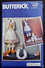 Butterick Stuffed Animal Duck Cow Draft Guard Dodger Stopper Sewing Pattern 4779