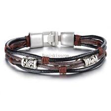 Retro Bead Black Brown Multi Leather Cord String Strap Bracelet Men's Wristband