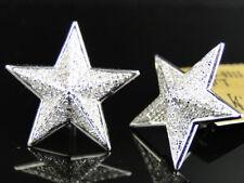 Mens Ladies 10k White Gold 22 Mm Diamond Pave XL Star Stud Earrings 0.75 Ct