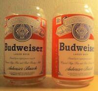 "2 Vintage unused Anheuser Busch Budweiser beer glasses 5 1/2"""