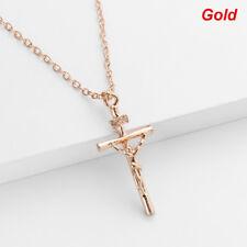 Hiphop 18K Gold Plated Long INRI Crucifix Jesus Cross Pendant Chain Necklace