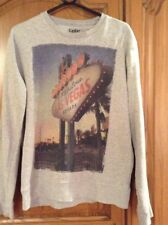 Cedar Wood State Grey Top With 'Las Vegas' Print Front Size M