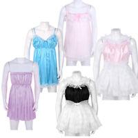 Mens Crossdress Satin Dress Ruffled Tulle Babydoll Lingerie Nightwear Underwear