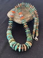 Native American Navajo Natural Green Turquoise Sterling Silver Spiny Necklace382