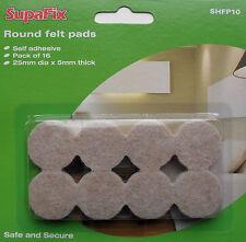 Coussinets feutre meubles de jambe étage protecteurs 25 mm (5mm d'épaisseur) Pack de 16 par supafix