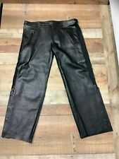 Attractive Unisex Real Cowhide Black Leather Motorcycle Pants Jeans Pant