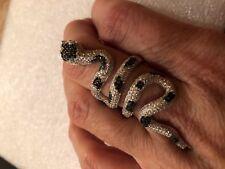Vintage Real Black Crystal Gothic Snake 925 Sterling Silver Adjustable Ring