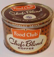 Vtg 1950s CHEF'S BLEND COFFEE GRAPHIC KEYWIND COFFEE TIN 1 POUND SKOKIE ILLINOIS