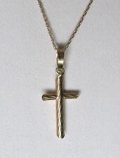"14k YG Wood Grain Cross Pendant w/14k Necklace Chain--18""--Free Shipping!"