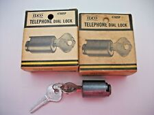 2 Vintage Ilco Rotary Telephone Dial Locks and Keys Nib Nos
