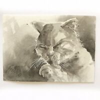 ACEO Kitten Painting Cat Licking Paw Original Art Listed By Artist American USA