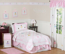 Sweet Jojo Designs Pink White Ballerina Ballet Kids Girl Unique Twin Bedding Set