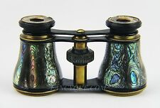 ANTIQUE FRENCH OPERA GLASSES BLACK WITH ABALONE MOTHER OF PEARL SMALL CHIP # 40