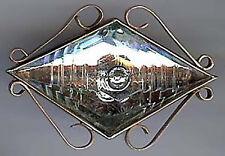 Victoriano Latón Antiguo Diamante Vidrio Globo Ocular forma broche