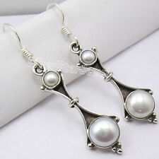 "925 Solid Silver 2 Beautiful Fresh Water Pearl Retro Style Earrings 1.8"" New"