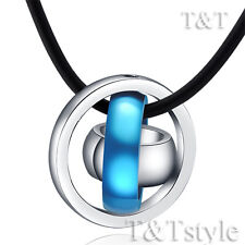 T&T Blue Stainless Steel Three Lucky Ring Pendant Necklace NP101F